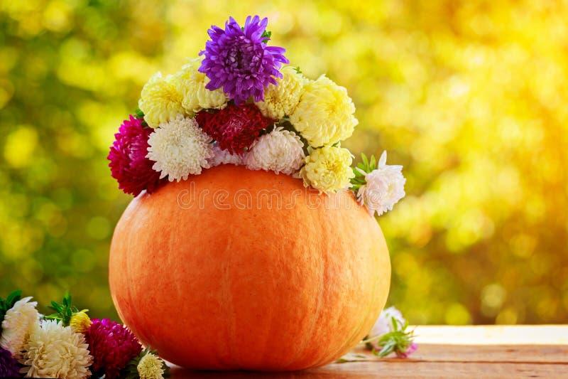 Calabaza con las flores coloridas en la tabla de madera contra fondo natural fotografía de archivo libre de regalías