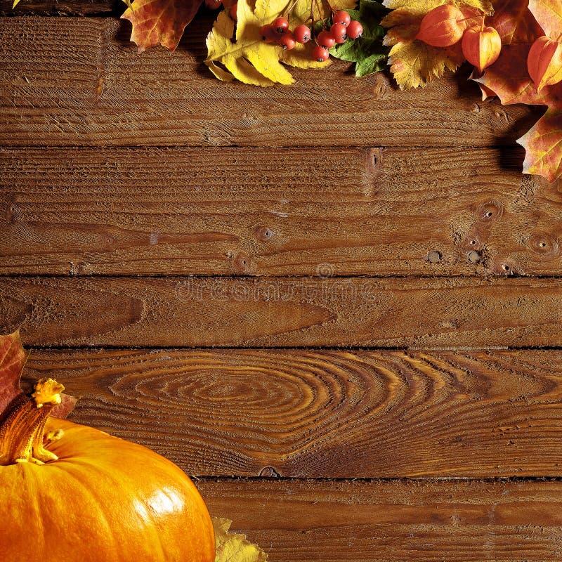 Calabaza con las hojas en una tabla de cortar de madera foto de archivo libre de regalías