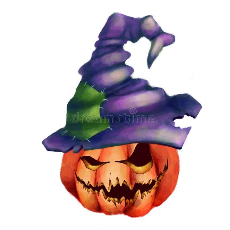 Calabaza con una cara terrible en un sombrero de la bruja Víspera de Todos los Santos Aislado libre illustration