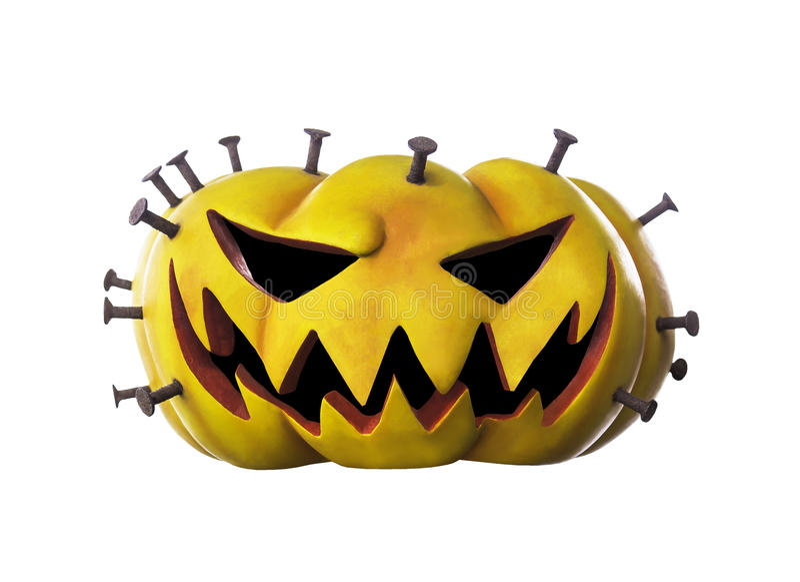 Calabaza de Halloween con el clavo aislado fotografía de archivo libre de regalías