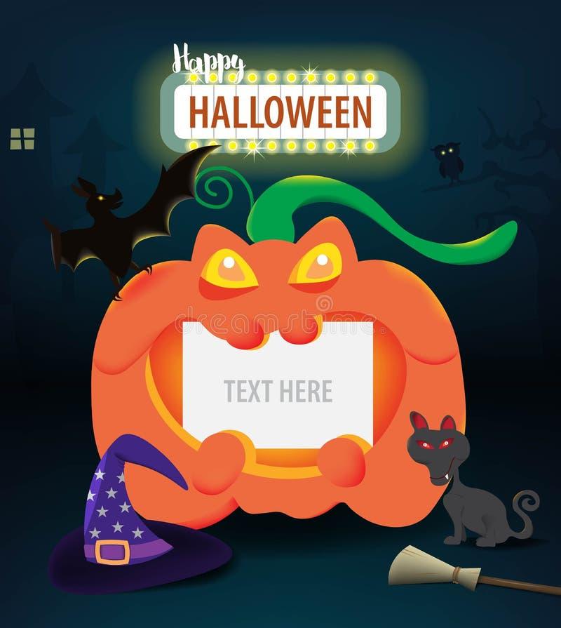 Calabaza de Halloween con el papel en blanco para la decoración en la noche oscura, concepto del texto de la celebración del día  ilustración del vector