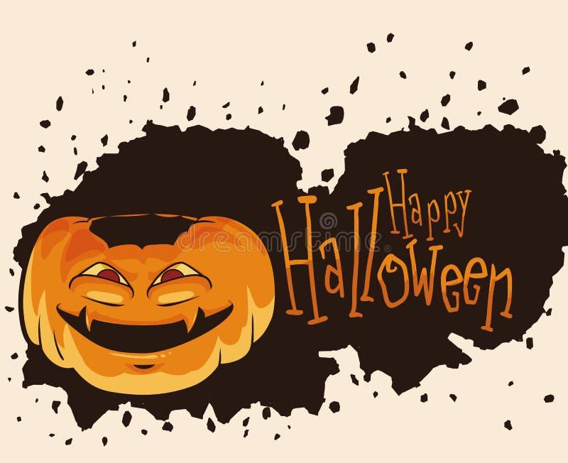 Calabaza de Halloween con la cara de la locura stock de ilustración
