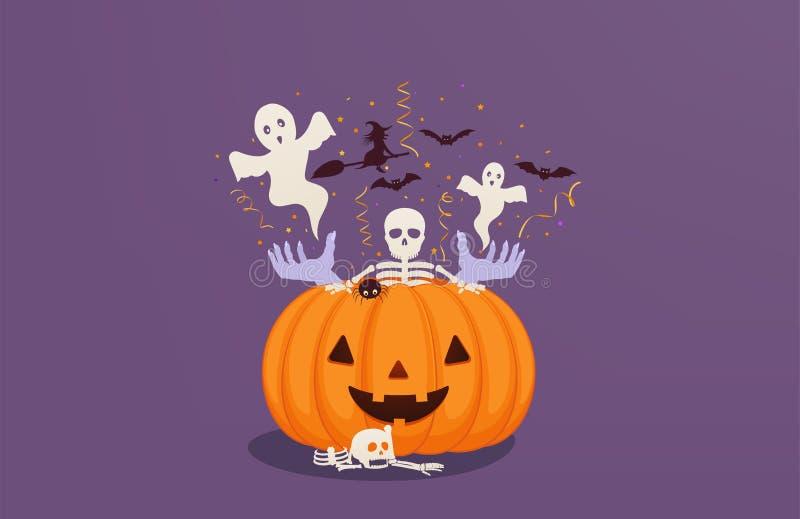 Calabaza de Halloween con las manos y el esqueleto muertos del hombre dentro, volando fantasmas, palos y a la bruja Tarjeta de fe ilustración del vector
