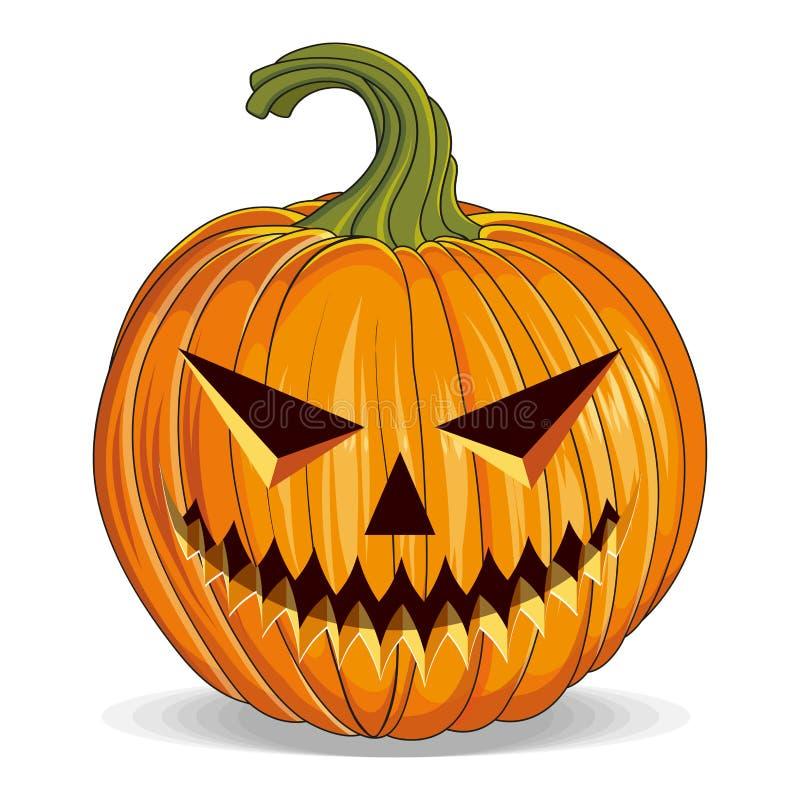 Calabaza de Halloween con ojos cortados. Feliz feriado de Halloween. Calabaza naranja con sonrisa. Atributo de Jack Lantern en el  libre illustration