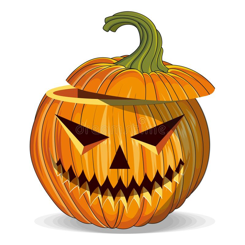 Calabaza de Halloween con ojos cortados. Feliz feriado de Halloween. Calabaza naranja con sonrisa. Atributo de Jack Lantern en el  stock de ilustración