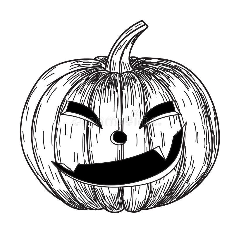 Calabaza de Halloween con sonrisa asustadiza malvada en estilo divertido del bosquejo del garabato del dibujo de la mano ilustración del vector