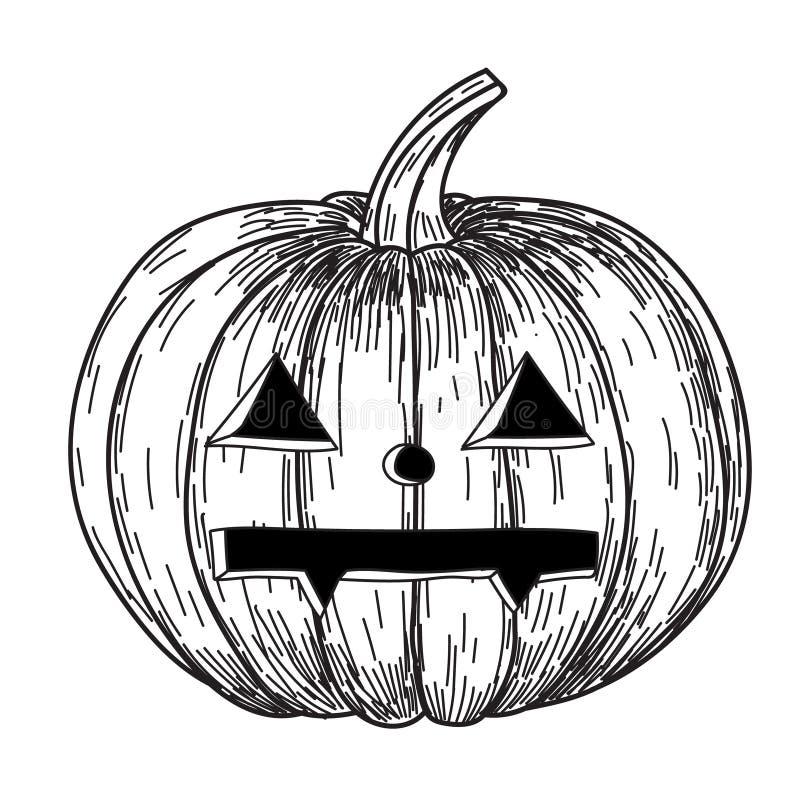Calabaza de Halloween con sonrisa asustadiza malvada en estilo divertido del bosquejo del garabato del dibujo de la mano libre illustration