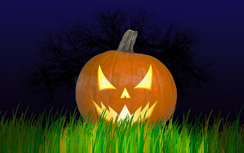Calabaza de Halloween con una mirada enojada imagenes de archivo