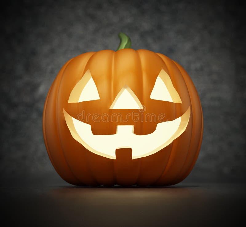Calabaza de Halloween del Lit con una cara sonriente divertida ilustración 3D ilustración del vector
