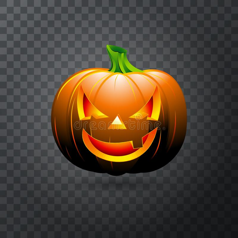 Calabaza de Halloween del vector con la vela dentro Calabaza feliz de Halloween de la cara aislada en fondo transparente ilustración del vector