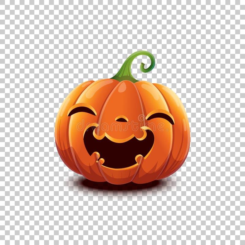 Calabaza de Halloween del vector en estilo de la historieta Calabaza feliz sonriente de Halloween de la cara aislada en fondo tra libre illustration