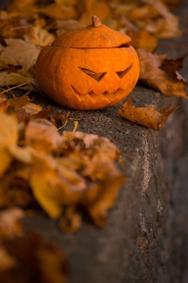 Calabaza de Halloween en el cementerio foto de archivo libre de regalías