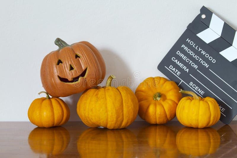 calabaza de Halloween en de madera fotografía de archivo libre de regalías