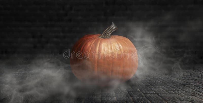 Calabaza de Halloween en un fondo oscuro con humo y niebla en la noche fotografía de archivo libre de regalías