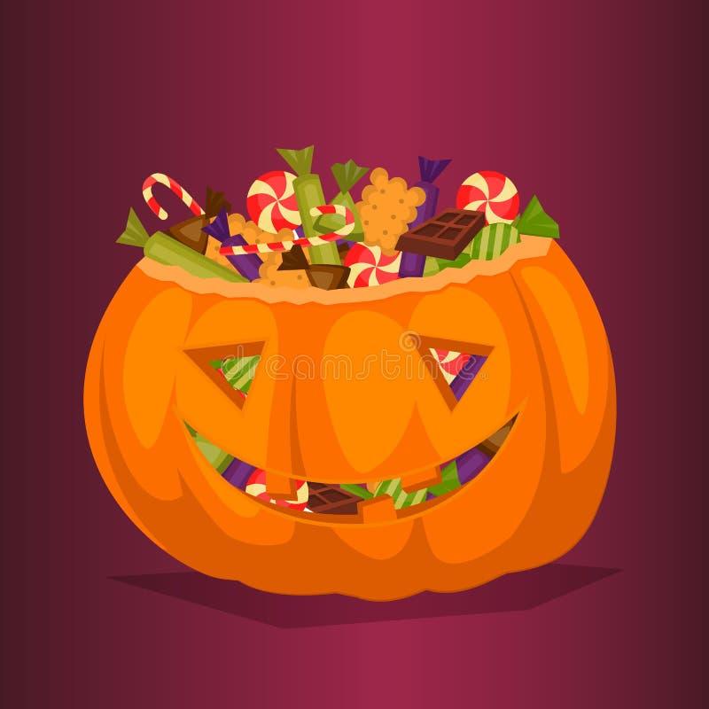 Calabaza de Halloween por completo de las invitaciones del caramelo libre illustration