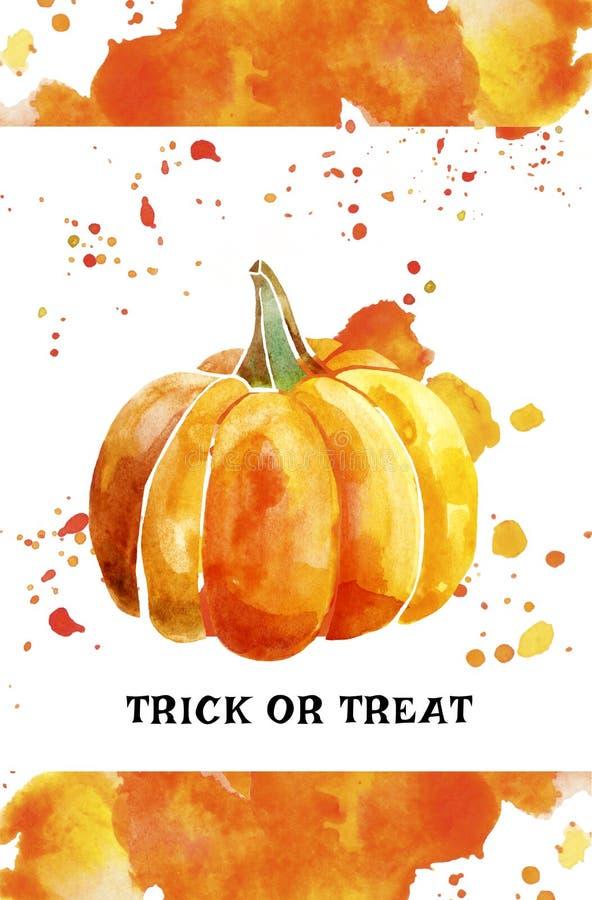 Calabaza de la acuarela de Halloween con el chapoteo del color ilustración del vector