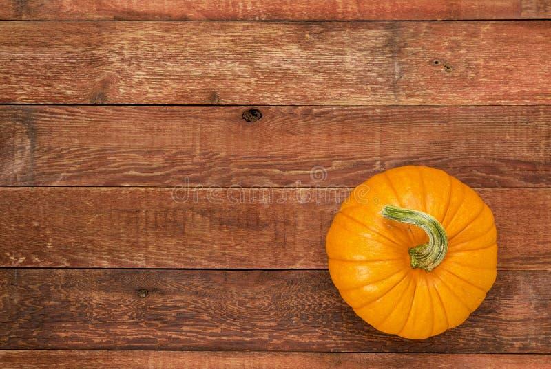 Calabaza de otoño en la madera rústica imagenes de archivo