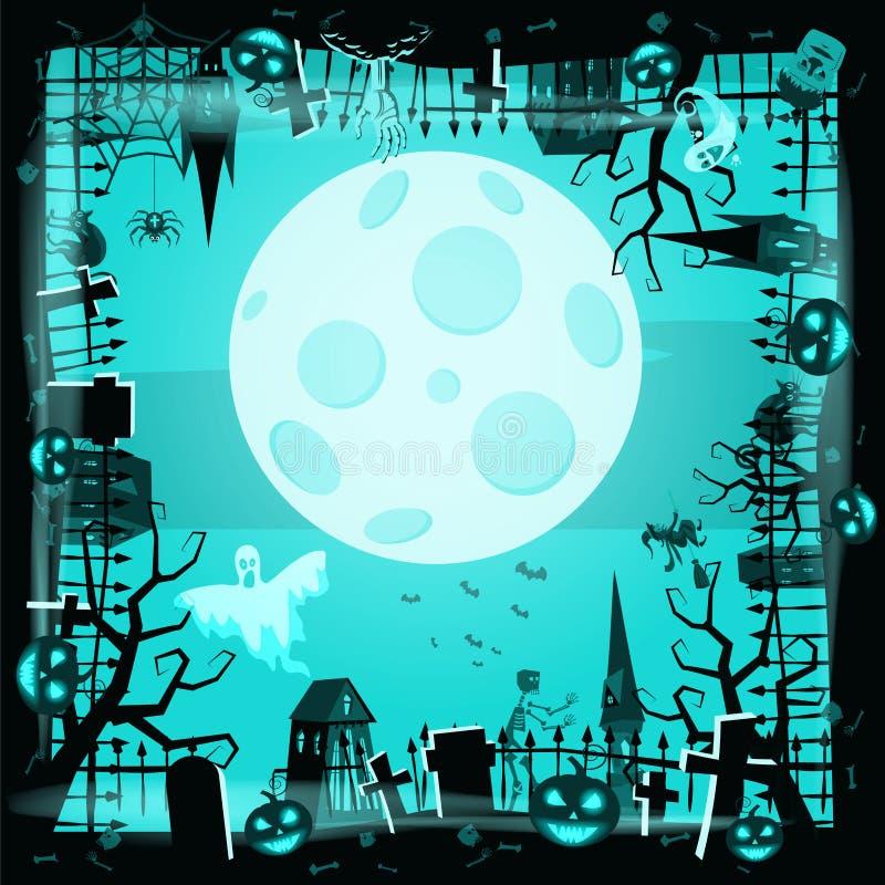Calabaza del día de fiesta de Halloween de la plantilla, cementerio, castillo abandonado negro, cualidades del día de fiesta de t ilustración del vector