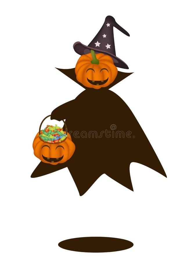 Calabaza del feliz Halloween con la cesta del caramelo libre illustration