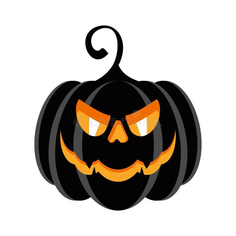 Calabaza del negro del carácter del partido de Halloween con los males de ojo ardientes stock de ilustración