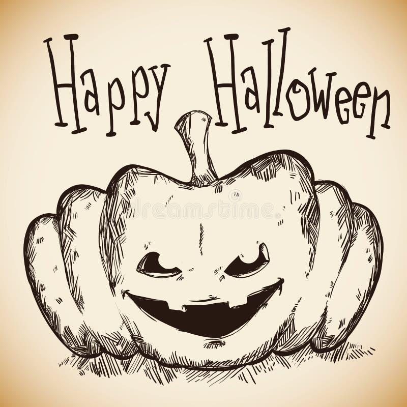 Calabaza dibujada mano feliz de Halloween y fantasmagórica stock de ilustración