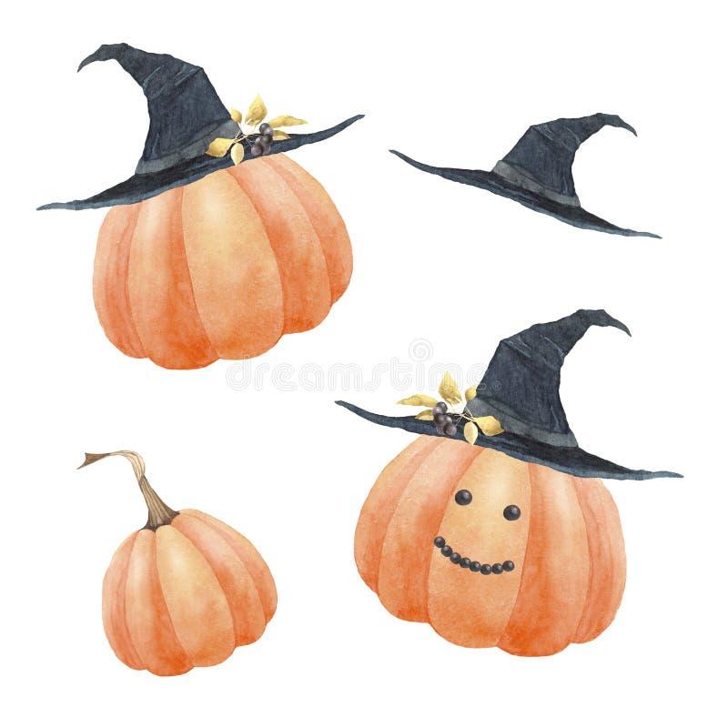 Calabaza divertida con sombrero negro para la ilustración de Halloween Watercolor para impresión y diseño foto de archivo libre de regalías