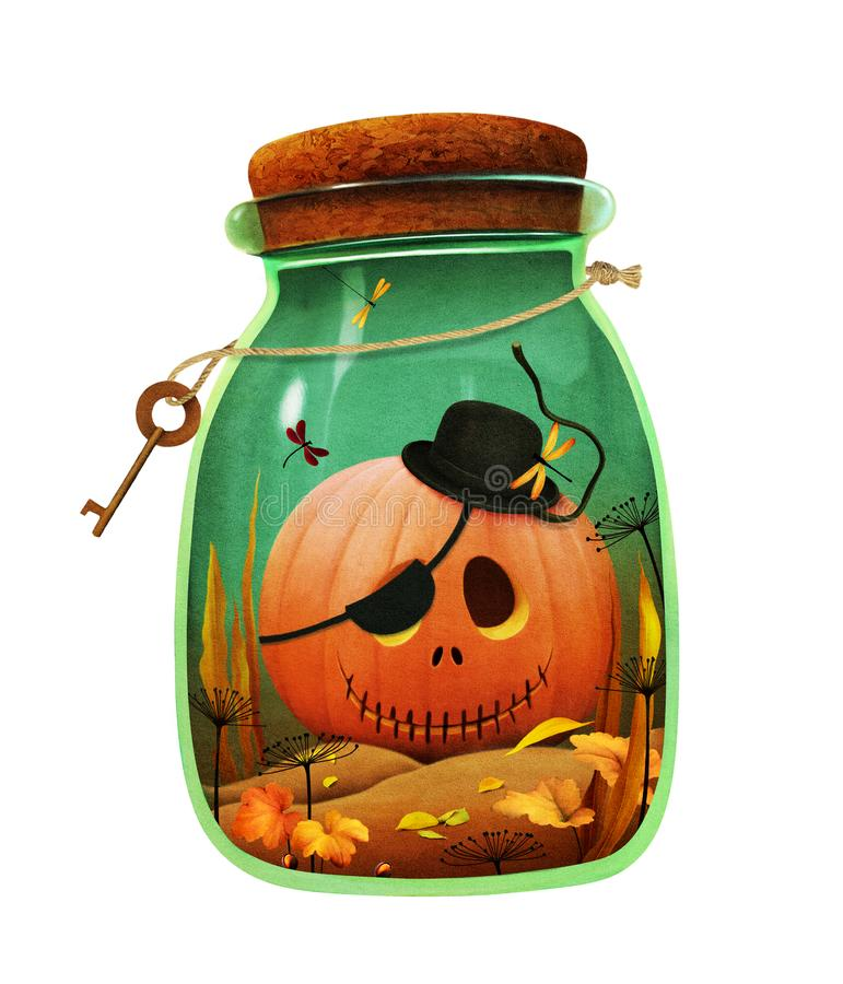 Calabaza en botella libre illustration