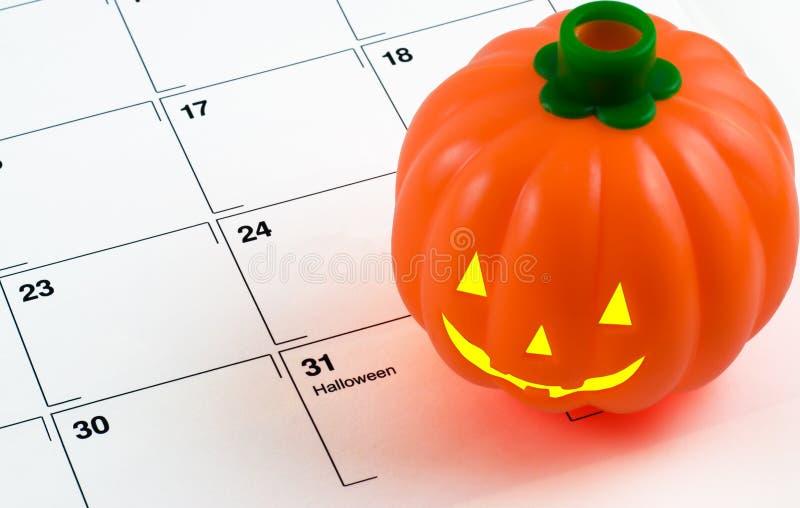Calabaza en calendario foto de archivo libre de regalías