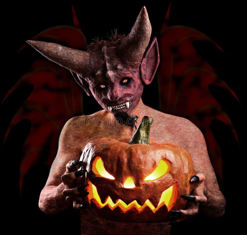 Calabaza Halloween en las manos del diablo stock de ilustración