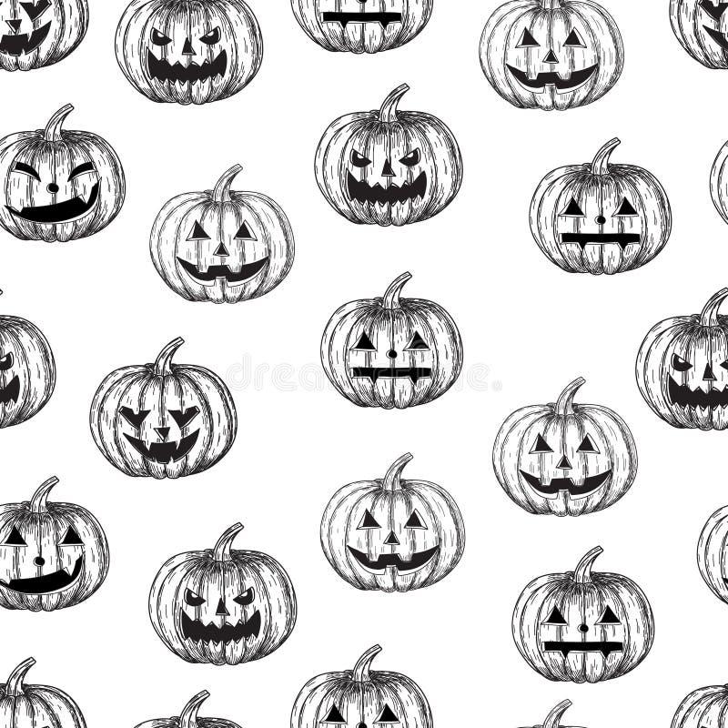 Calabaza inconsútil del fondo de Halloween con diversas expresiones faciales, stock de ilustración