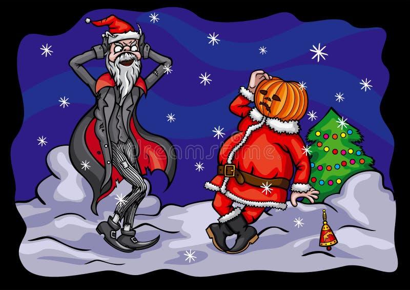 Calabaza Jack y Santa Claus de Halloween ilustración del vector