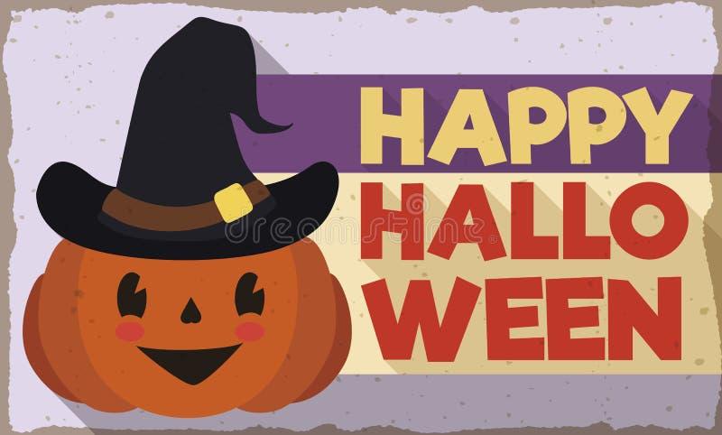 Calabaza linda de Halloween en el estilo plano retro, ejemplo del vector libre illustration