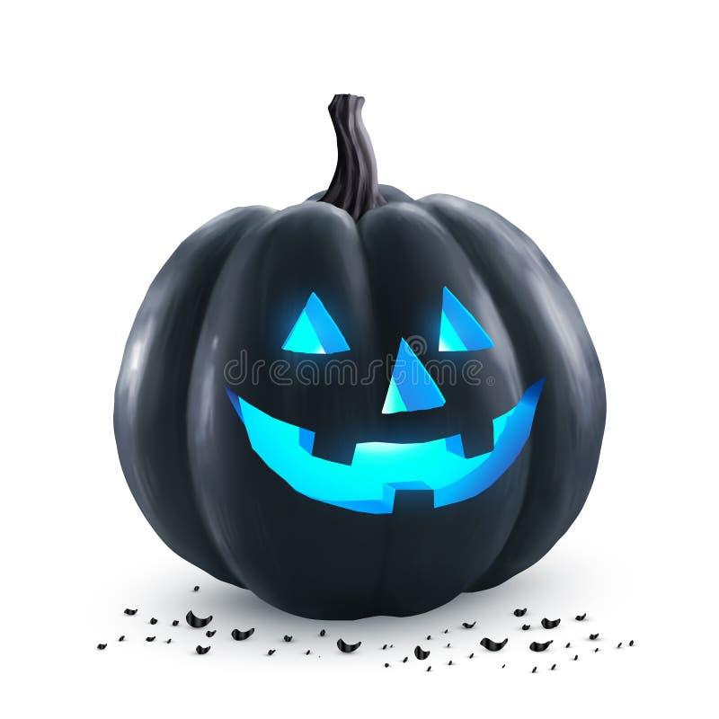 Calabaza negra del vector de Halloween con el interior azul de la luz de neón - símbolo del día de fiesta ilustración del vector