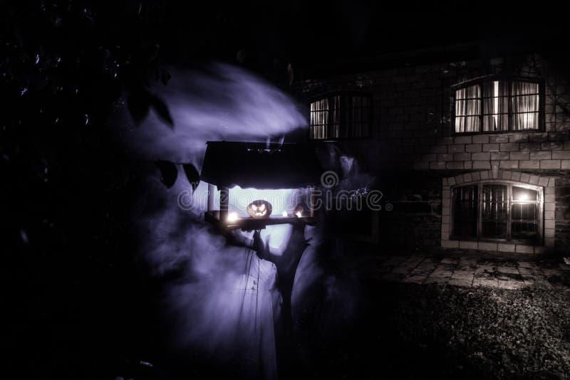 Calabaza que quema en Forest At Night - el fondo de Halloween La calabaza sonriente y que brillaba intensamente de la linterna as fotografía de archivo
