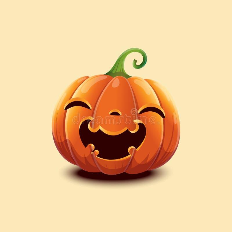 Calabaza realista de Halloween Calabaza feliz de Halloween de la cara aislada en fondo ligero stock de ilustración