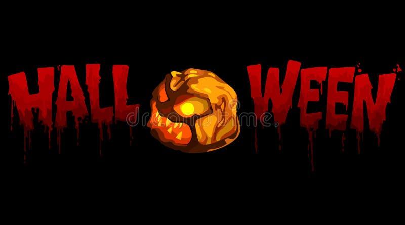 Calabaza sangrienta de Halloween de la inscripción con la luz stock de ilustración