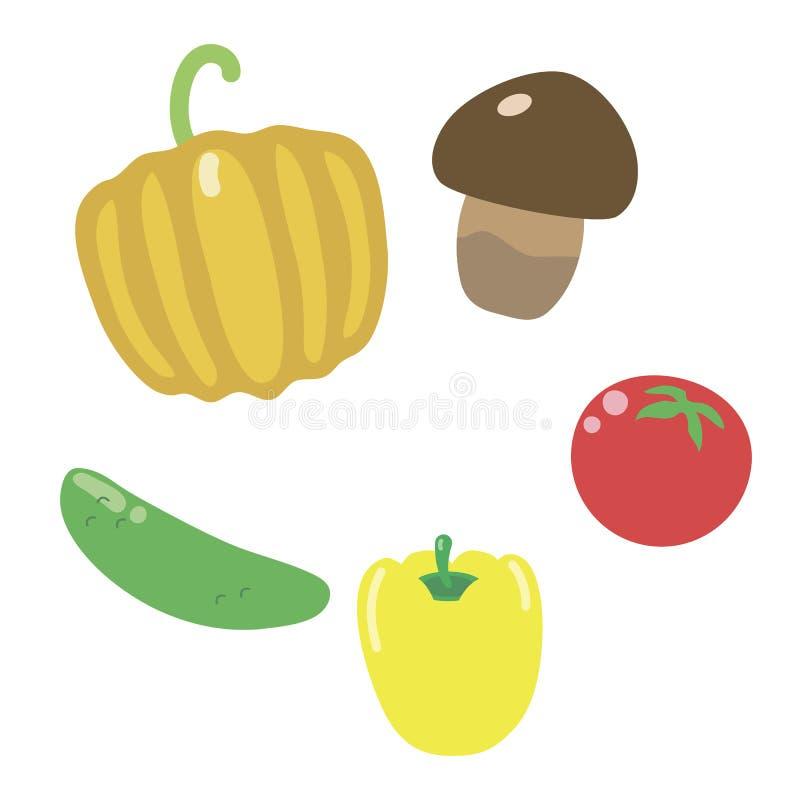 Calabaza, seta, tomate, pimienta simple y pepino multicolores coloridos brillantes aislados ilustración del vector