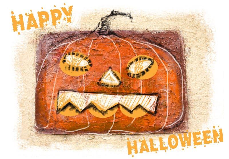 Calabaza tallada de víspera de Todos los Santos Fondo del feliz Halloween Jack-o-linterna asustadiza de la calabaza con sonrisa e imagen de archivo
