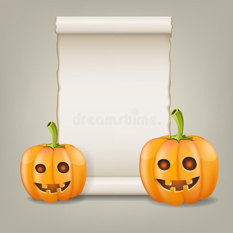 Calabaza y papel enrollado. Ejemplo del vector. libre illustration