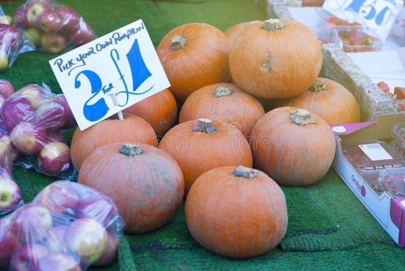 Calabazas anaranjadas maduras en la granja durante venta de la calabaza de otoño Símbolo tradicional para la cosecha otoñal, día  imágenes de archivo libres de regalías