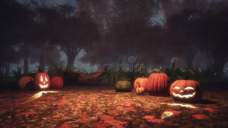 Calabazas asustadizas de Halloween en bosque brumoso en la oscuridad stock de ilustración