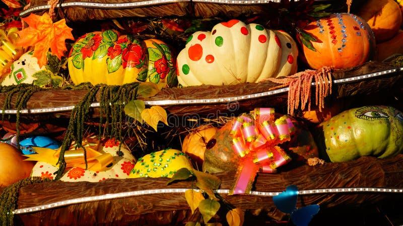 Calabazas coloridas en la feria foto de archivo