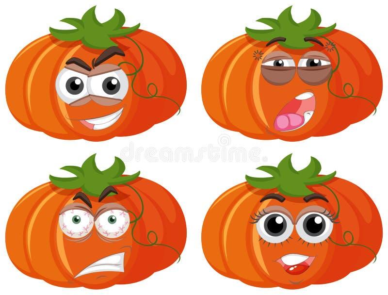 Calabazas con cuatro diversas expresiones stock de ilustración