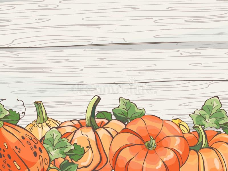 Calabazas con las hojas en el fondo de madera Ilustraci?n del vector foto de archivo