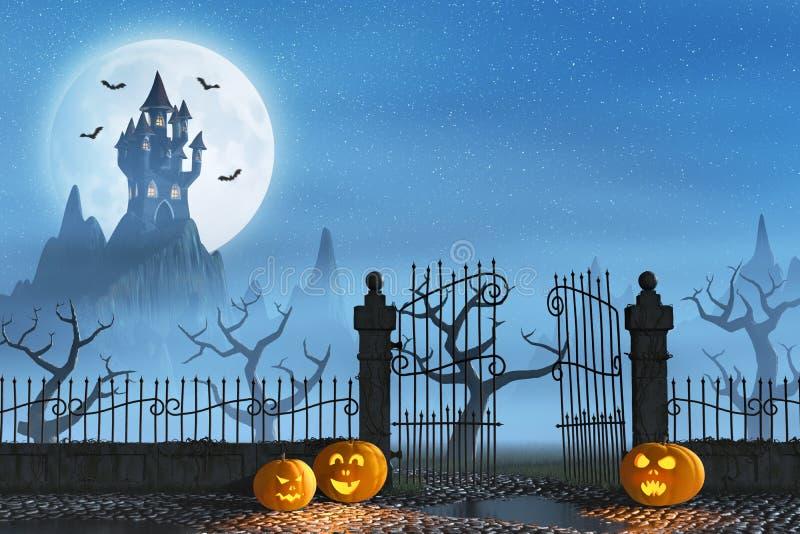 Calabazas de Halloween al lado de una puerta de un castillo fantasmagórico ilustración del vector