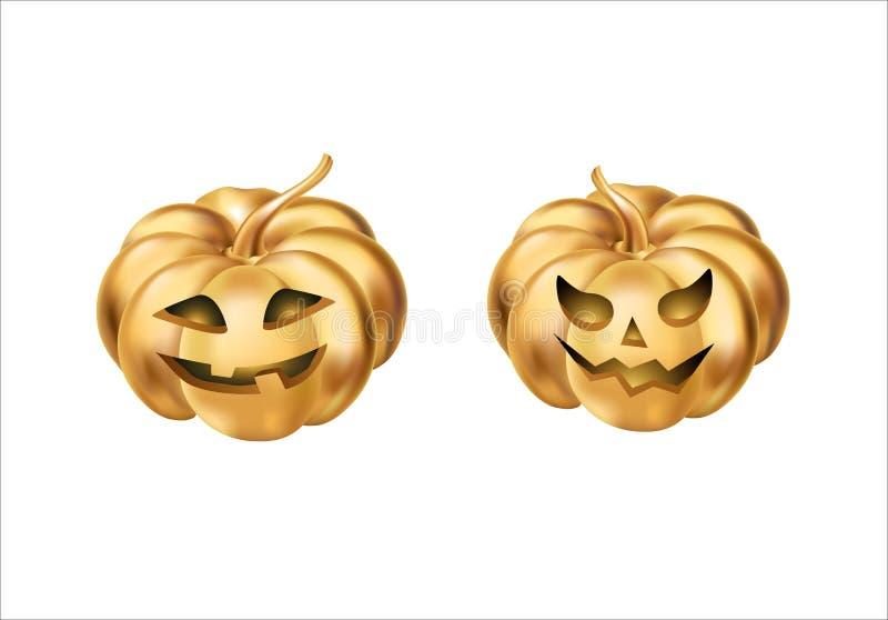 Calabazas de Halloween del oro ilustración del vector