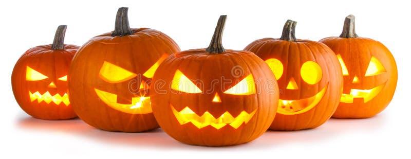 Calabazas de Halloween en blanco foto de archivo libre de regalías