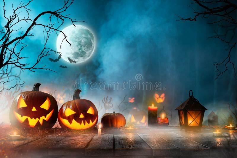 Calabazas de Halloween en bosque fantasmag?rico oscuro imagen de archivo