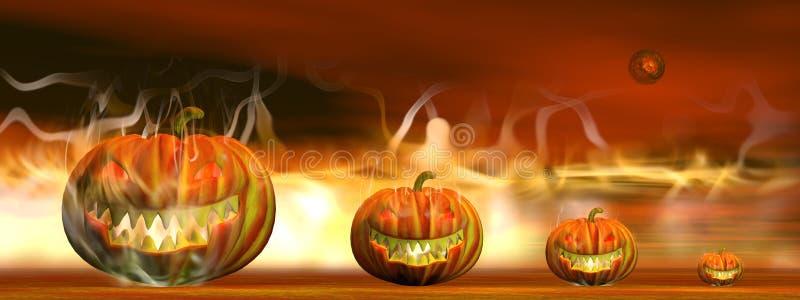 Calabazas de Halloween en fuego - 3D rinden stock de ilustración
