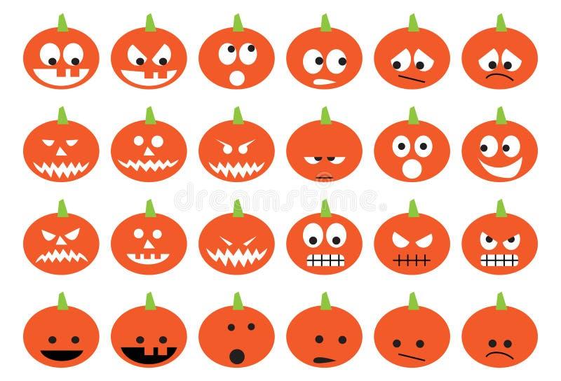 Calabazas de Halloween fijadas de iconos fotos de archivo